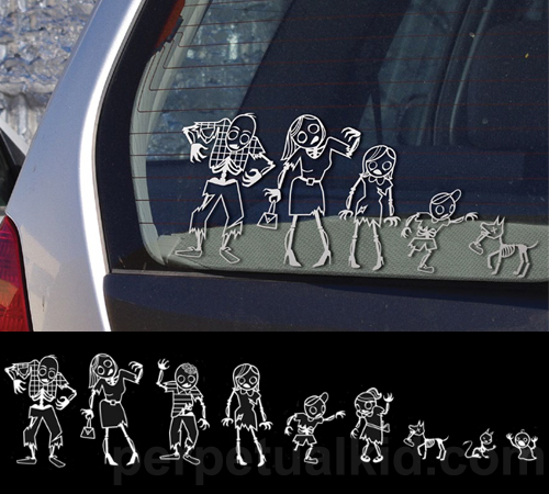 stickers famille de zombie id al pour relooker sa voiture. Black Bedroom Furniture Sets. Home Design Ideas