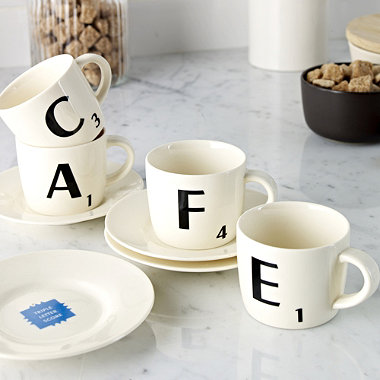 set de tasses caf expresso scrabble pour se d tendre devant le jeu. Black Bedroom Furniture Sets. Home Design Ideas